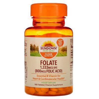 Фолиевая кислота, Folic Acid, Sundown Naturals, 800 мкг, 100 таблеток