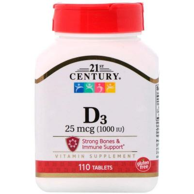 Витамин Д3, Vitamin D3, 21st Century, 1000 МЕ, 110 таблеток