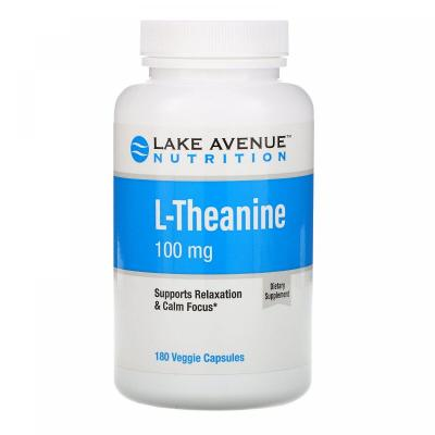 L-теанин, L-Theanine, Lake Avenue Nutrition, 100 мг, 180 вегетарианских капсул