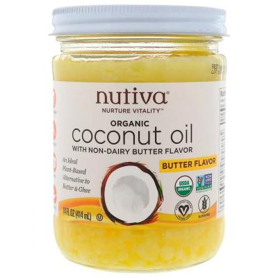 Органическое кокосовое масло, со вкусом сливочного масла, Nutiva, 14 ж. унц. (414 мл)