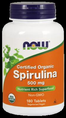 Спирулина, Spirulina, Now Foods, сертифицированная, 500 мг, 180 таблеток