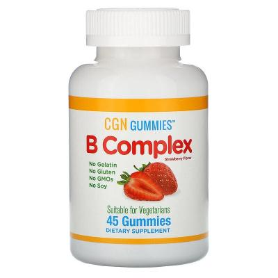Комплекс витаминов группы B, клубничный вкус, B Complex, California Gold Nutrition, 45 жевательных таблеток