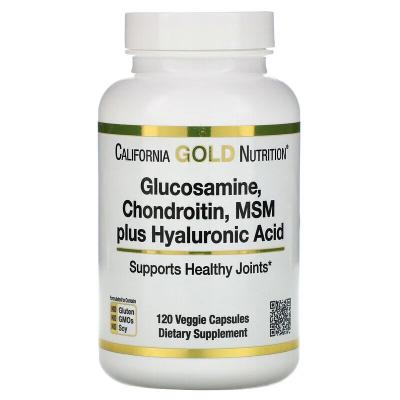 Глюкозамин, хондроитин, МСМ, гиалуроновая кислота, Glucosamine, California Gold Nutrition, 120 капсул