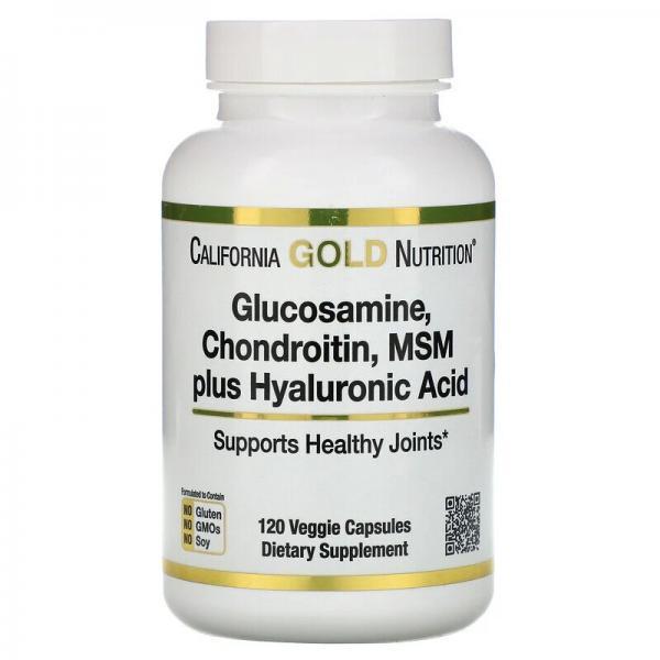 Глюкозамин, хондроитин, МСМ, гиалуроновая кислота, Glucosamine, California Gold Nutrition, 120 капсул