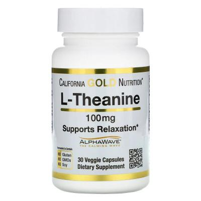 L-теанин, L-theanine, California Gold Nutrition, 100 мг, 30 капсул