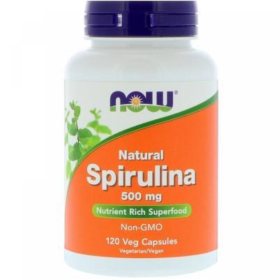 Спирулина натуральная, Spirulina, Now Foods, 500 мг, 120 капсул