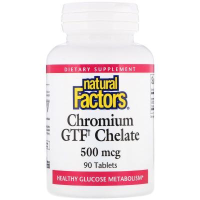 Хром GTF, Natural Factors, 500 мкг, 90 таблеток