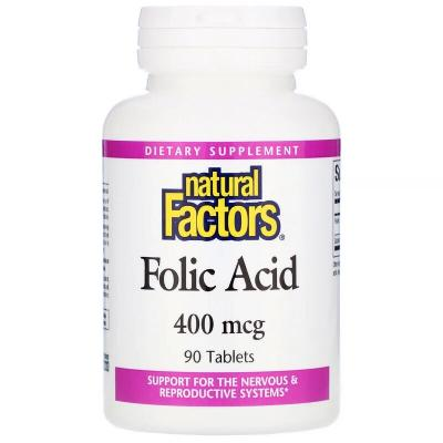 Фолиевая кислота, Folic Acid, Natural Factors, 400 мкг, 90 таблеток