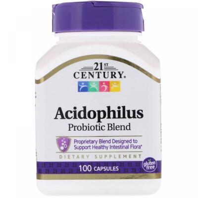 Пробиотики, Acidophilus, 21st Century, 100 капсул