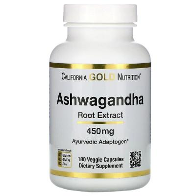Ашвагандха, Ashwagandha Root Extract, California Gold Nutrition, 450 мг 180 капсул