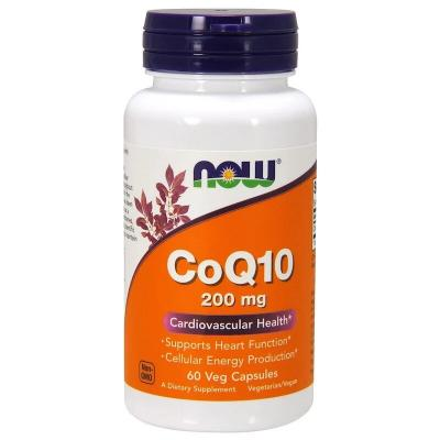 Коэнзим Q10, CoQ10, Now Foods, 200 мг, 60 веганских капсул