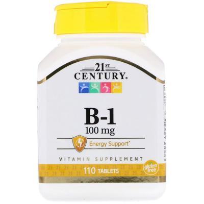 Витамин B-1 (Тиамин), 100 мг, 21st Century,  110 таблеток