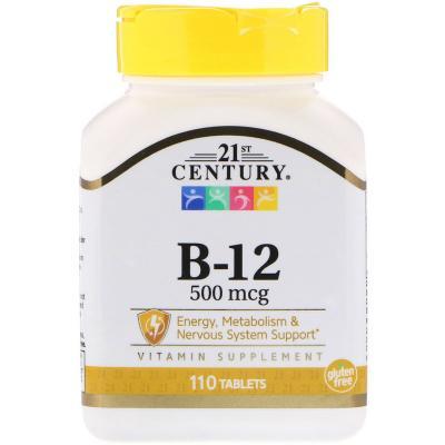 Витамин В12, Vitamin B-12, 21st Century, 500 мкг, 110 таблеток