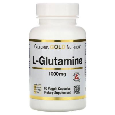 Глютамин, L-Glutamine, California Gold Nutrition, 1000 мг, 60 капсул