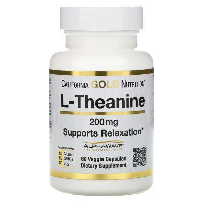 L-теанин, L-theanine, California Gold Nutrition, 200 мг, 60 растительных капсул