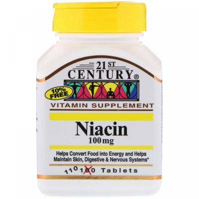 Ниацин, 100 мг, 21st Century, 110 таблеток