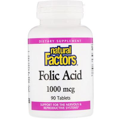 Фолиевая кислота, Folic Acid, Natural Factors, 1000 мкг, 90 таблеток