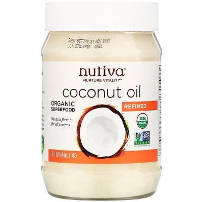 Органическое кокосовое масло, рафинированное, Nutiva, 15 жидких унций (444 мл)