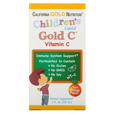 Витамин C в жидкой форме для детей, класса USP, натуральный апельсиновый вкус, Gold C, California Gold Nutrition, 118 мл (4 жидк. унции)