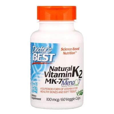 Витамин К2, МК-7 Vitamin K2, Doctor's Best, 100 мкг, 60 капсул