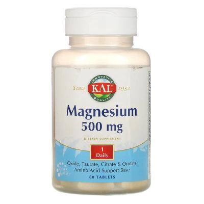 Магний, Magnesium, Kal, 500 мг, 60 таблеток