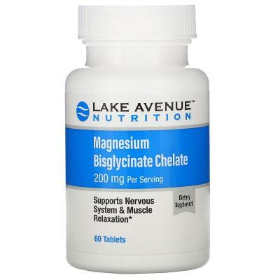Биглицинатный хелат магния, Magnesium Bisglycinate Chelate, Lake Avenue Nutrition, 200 мг, 60 таблеток