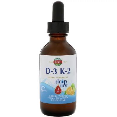 Витамин D3+K2, Vitamin D3 K2 Drop, KAL, цитрусовый вкус, 59 мл.