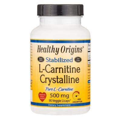 L- карнитин, L-Carnitine Crystalline, Healthy Origins, 500 мг, 90 капсул