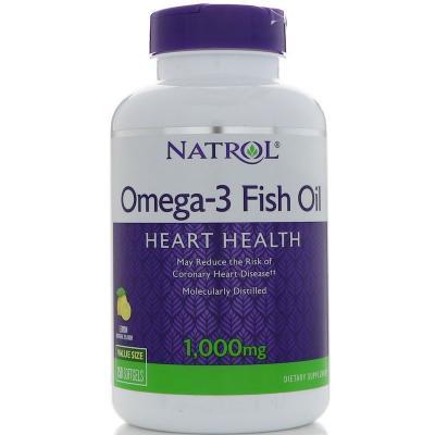 Рыбий жир, вкус лимона, Omega-3 Fish oil, Natrol, 1000 мг, 150 капсул