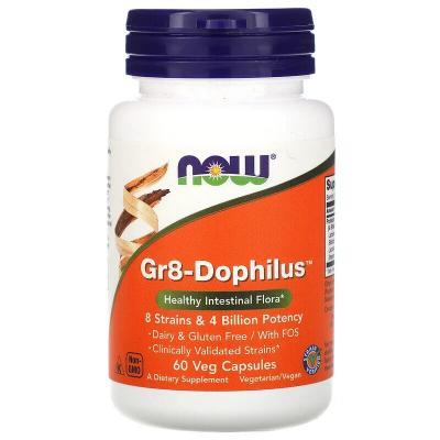 Пробиотики, Gr8-Dophilus, Now Foods, 4 млрд КОЕ, 60 капсул