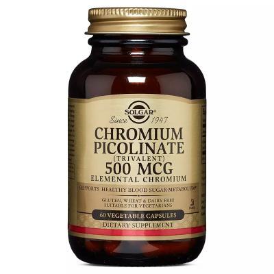 Хром Пиколинат, Chromium Picolinate, Solgar, 500 мкг, 60 капсул