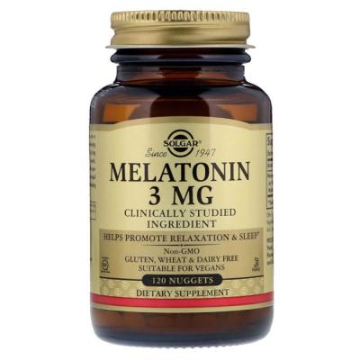 Мелатонин 3 мг, Solgar, 120 жевательных таблеток
