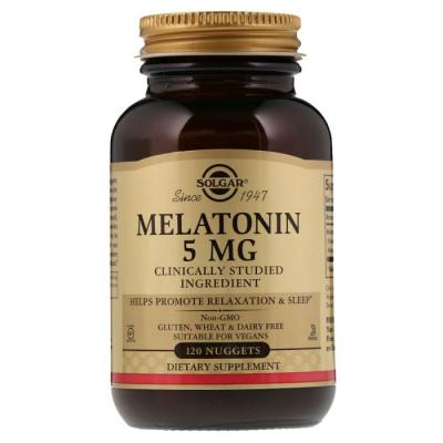 Мелатонин 5 мг, Solgar, 120 жевательных таблеток
