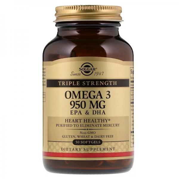 Рыбий жир, Омега - 3 (Omega-3, EPA DHA), Solgar, тройная сила, 950 мг, 50 капсул