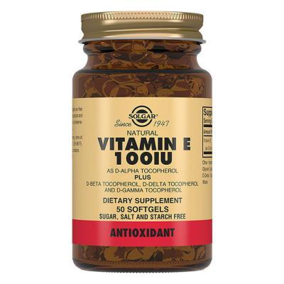 Витамин E, Vitamin E 100 МЕ, Solgar, 50 таблеток